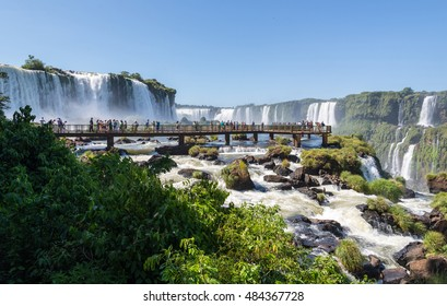 Viewpoint of Iguazu falls from Brazillian side in South America