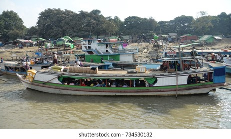 viewpoint of Irrawaddy river and Mandalay. Sagaing city port for tourist travel to mingun and pahtodawgyi pagoda 19 December 2016,mandalay,myanmar