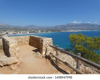 A viewpoint made from stones in Serra Gelada Natural Park (El Parc Natural de la Serra Gelada), El Albir, Costa Blanca, Spain - scening view on the coast