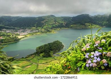 Viewpoint Miradouro do Cerrado das Freiras above Sete Cidades at Sao Miguel, Azores