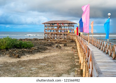 Viewpoint in the ocean at Cloud Nine surf point, Siargao island , Philippines
