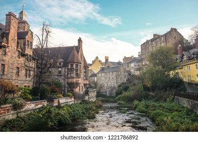 Viewpoint of old town at Dean Village from bridge over Water of Leith river