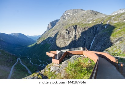 Viewpoint on Trolls Path (also Trollstigen). Serpentine mountain road. Popular tourist attraction due to its steep incline of 10% and eleven hairpin bends up a steep mountainside. Norway, Europe.
