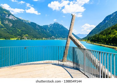 Viewpoint platform over beautiful Achensee lake on sunny summer day, Tirol, Austria