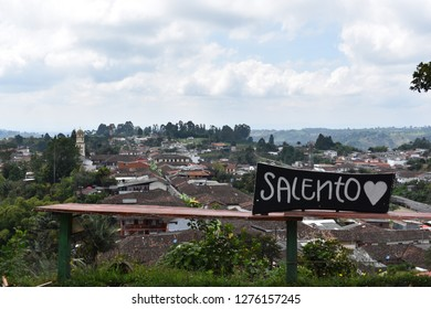 Viewpoint of Salento. With a sign (I love Salento). Quindio, Colombia