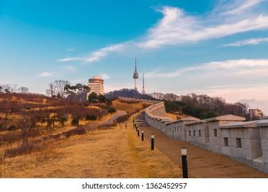 Viewpoint Seoul, Beautiful Garden Namsan park and beautiful cloudy at Seoul Tower,South Korea.