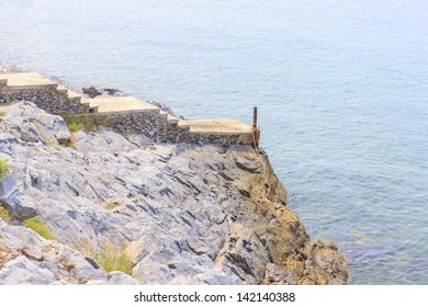 The viewpoint and small dock at Si Chang Island, Thailand