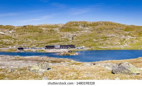 Viewpoint Sognefjellshytta along National scenic route Sognefjellet between Skjolden and Lorn in Sogn og Fjordane in Western Norway.