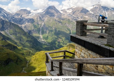 A viewpoint stop on the Grossglockner High Alpine road, between Austria and Italy, with panoramic views, on a late summer day