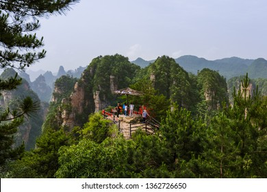 Viewpoint in Tianzi Avatar mountains nature park - Wulingyuan China - travel background