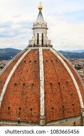 Viewpoint at the top of a church dome in Florence, Italy - Basilica di Santa Maria del Fiore.