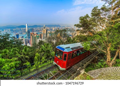 Viewpoint victoria peak tram landmark in Hong Kong