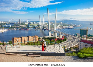Viewpoint with view of the Zolotoy Golden Bridge. It is cable-stayed bridge across the Zolotoy Rog (Golden Horn) in Vladivostok, Russia.