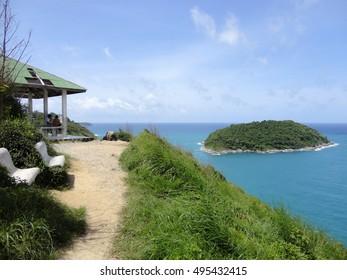 Viewpoint of Yanui Beach and Koh Kaeo Noi on Phuket island, Andaman Sea in South Thailand.
