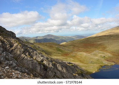 Views across the top of Glyder Fach and Glyder Fawr and on to Tryfan and Llyn Bochlwyg in the Ogwyn Valley, Snodonia National Park, North wales, United Kingdom