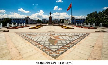 Views of Ala-Too square in Bishkek, Kyrgyzstan