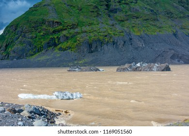 Views of the amazing Vatnajokull glacier taken from a glacier  blue ice walk tour near the Hvannadalshnukur glacial arm in South Iceland