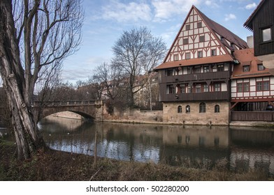Views of ancient medieval houses in Pegnitz river city of Nuremberg, Germany