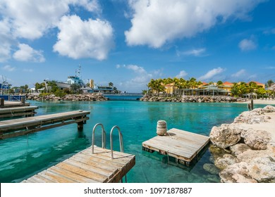Views around the Sea Aquarium Beach small Caribbean island of Curacao