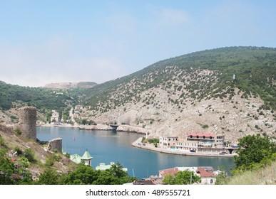 views of Balaklava bay, mountain Tavros and fortress Cembalo, Crimea