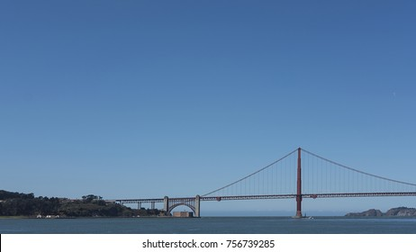 Views from the bay side of the south tower of the iconic Golden Gate Bridge, San Francisco, California, USA