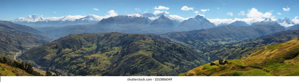 "Views of Black mountain range ""Cordillera negra"" from Wilcacocha lagoon, Peru"