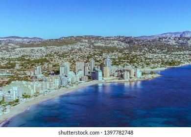 Views of Calpe since the mountains (Peñón de Ifach- Calpe, Alicante, Spain) February, 2019