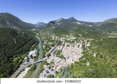 Views of Castellane from chapelle notre dame roc. Provence, France, Europe.