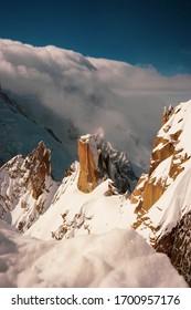 Views from Chamonix mon blanc. Mountain peaks.