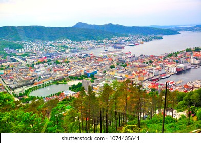 Views of the city of Bergen from the funicular lookout