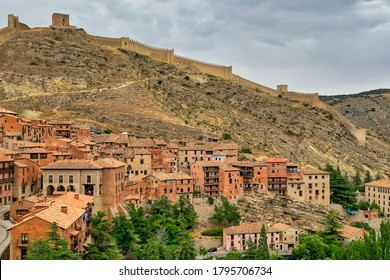 Views of the city and medieval wall of Albarracin declared a national monument of Spain.