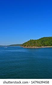 Views of the coastline of the San Juan Islands in the Salish Sea in Washington State