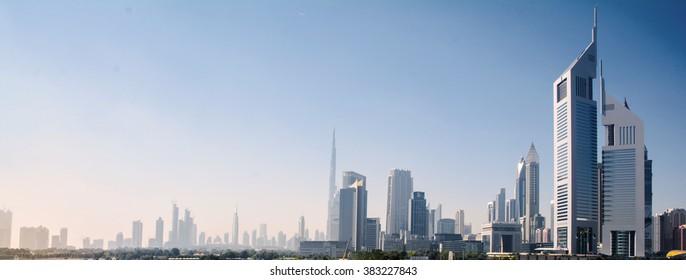 views of Dubai, skyscrapers of Dubai in the winter
