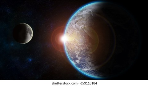 Views of Earth from the moon surface. Elements of this image furnished by NASA