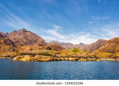 views of Elgol harbour and loch Coruisk coastside in Isle of Skye, Scotland