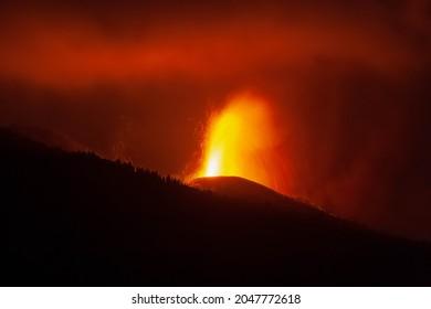 Views of eruption of Cumbre Vieja Volcano. La Palma.