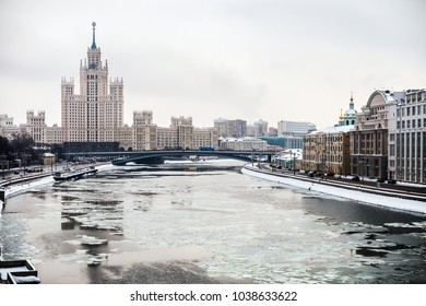 views of high-rise building on the Kotelnicheskaya embankment and Moscow river. winter landscapes of Moscow.