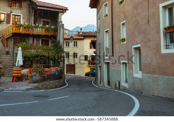 views of the houses and streets in a small town Tremosine at dawn. Italy.