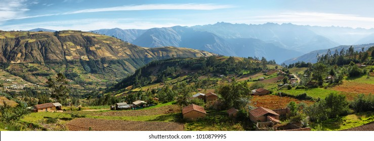 Views of houses and terraced fields in the way to Yungay, Ancash province, Peru
