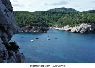 Views of Ibiza Balearic Islands, blue sea,Mediterranean sea, favorite destination of foreign tourists in Spain