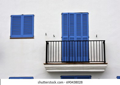 Views of Ibiza,House facade white an blue indigo colors in historic center of Ibiza, house of ibiza, Spain., , cobbled streets and steep,narrow streets