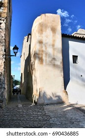 Views of Ibiza,House facade white in historic center of Ibiza, house of ibiza, Spain., , cobbled streets and steep,narrow streets