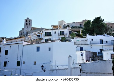 Views of Ibiza,House facade white in historic center of Ibiza, house of ibiza, Spain., , cobbled streets and steep,narrow streets, Cathedral,