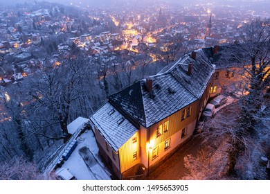 Views of the illuminated old town of Wernigerode in the case of ice and snow