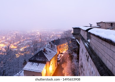 Views of the illuminated old town of Wernigerode in the case of ice and snow in the evening