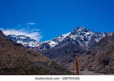 Views of Imlil Mosque in shadow of Mount Toubkal in the Atlas Mountains, Morocco