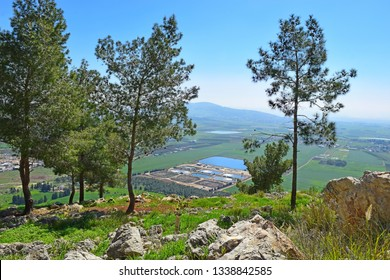 views of the Jezreel Valley from the heights of Mount Precipice, located just outside the southern edge of Nazareth, Lower Galilee, Israel