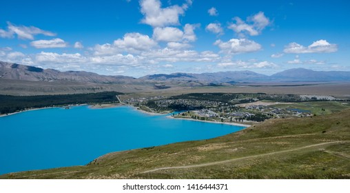 Views of Lake Tekapo from Mt John, Tekapo, New Zealand