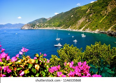 Views of Ligurian Sea with flowers