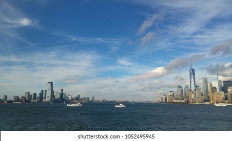 Views of Manhattan - Jersey skyline from the boat of Staten Island